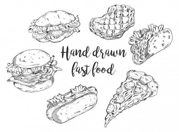 Handgezeichnete fast food