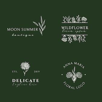 Handgezeichnete feminin weiße florale logokollektion im trendigen minimalistischen stil