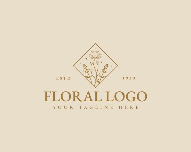 Handgezeichnete feminine schönheit minimale florale botanische logo-vorlage für spa-salon-haut-haarpflege