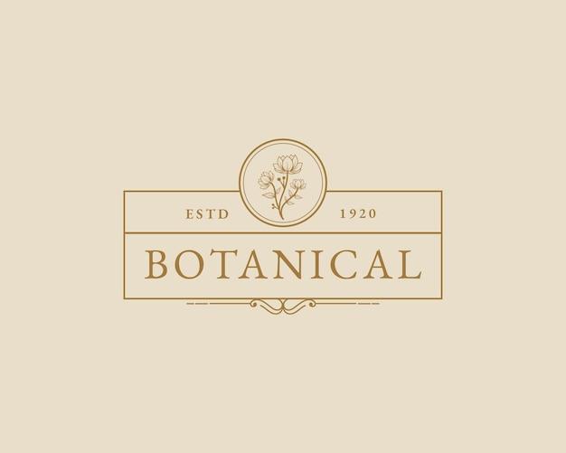 Handgezeichnete feminine schönheit minimale florale botanische logo-vorlage spa-salon-haut-haarpflege-marke