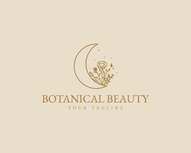 Handgezeichnete feminine schönheit minimale florale botanische mondstern-logo-spa-salon-haut-haarpflege-marke