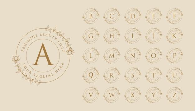 Handgezeichnete feminine schönheit minimales florales botanisches logo a bis z anfangsbuchstabenlogo für marke