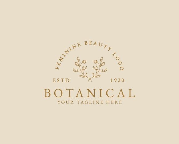 Handgezeichnete feminine schönheit minimales florales botanisches logo für spa-salon-haut-haarpflege-branding