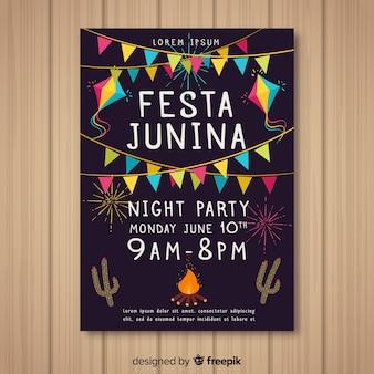 Handgezeichnete festa junina flyer vorlage
