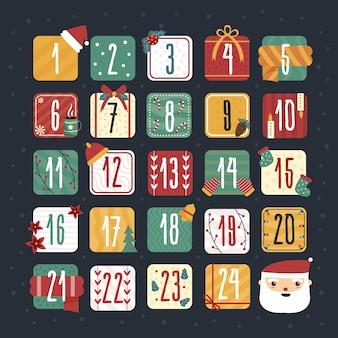 Handgezeichnete festlichen adventskalender