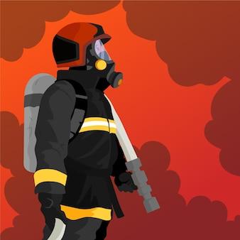 Handgezeichnete feuerwehrleute im flachen design, die ein feuer löschen