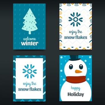Handgezeichnete flache abstrakte blaue winterkarte poster set