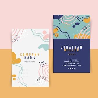 Handgezeichnete flache abstrakte formen visitenkarten