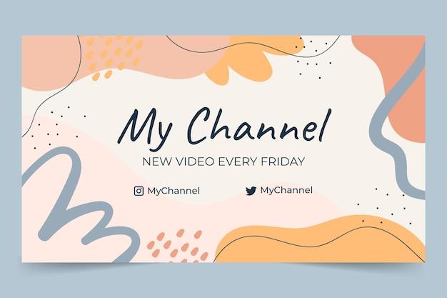 Handgezeichnete flache abstrakte formen youtube-kanalkunst