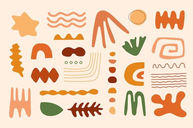 Handgezeichnete flache abstrakte formsammlung