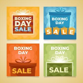 Handgezeichnete flache boxing day sale instagram posts sammlung