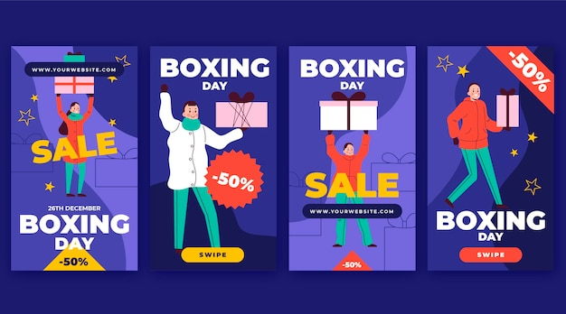 Handgezeichnete flache boxing day sale instagram story collection