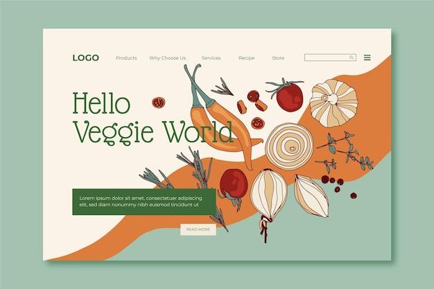Handgezeichnete flache design-landingpage für vegetarisches essen