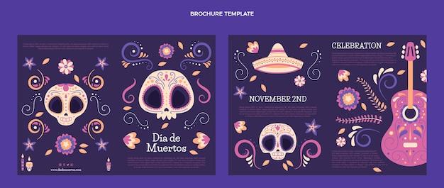 Handgezeichnete flache dia de muertos-broschürenvorlage