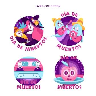 Handgezeichnete flache dia de muertos etikettenkollektion