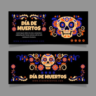 Handgezeichnete flache dia de muertos horizontale banner eingestellt