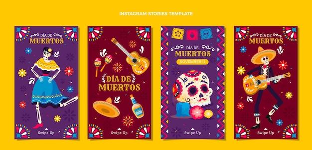 Handgezeichnete flache dia de muertos instagram geschichtensammlung