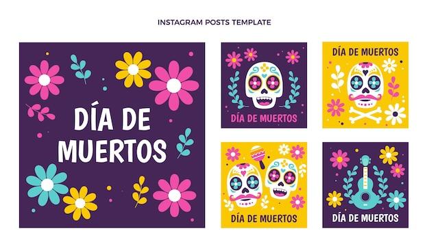 Handgezeichnete flache dia de muertos instagram posts sammlung