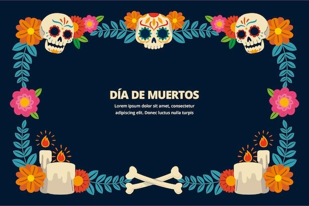 Handgezeichnete flache dia de muertos-rahmenschablone