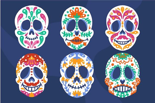 Handgezeichnete flache dia de muertos schädelsammlung