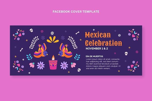 Handgezeichnete flache dia de muertos-social-media-cover-vorlage