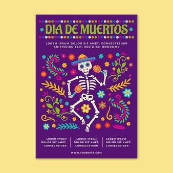 Handgezeichnete flache dia de muertos vertikale flyer-vorlage