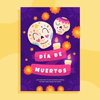 Handgezeichnete flache dia de muertos vertikale plakatvorlage