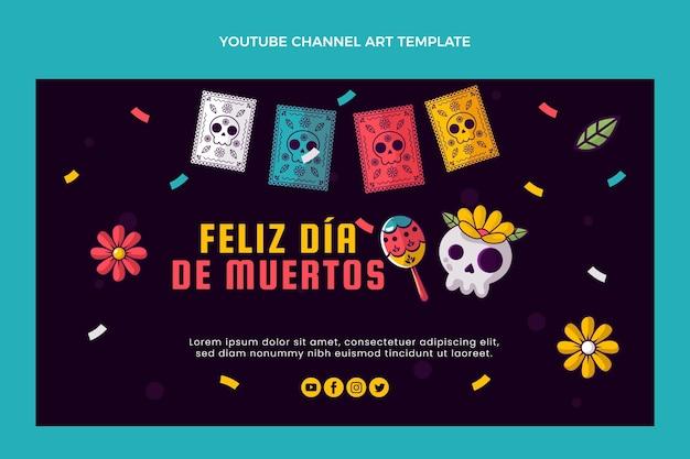 Handgezeichnete flache dia de muertos youtube-kanalkunst