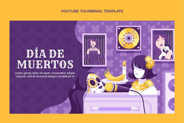 Handgezeichnete flache dia de muertos youtube thumbnail