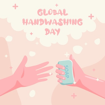 Handgezeichnete flache globale handwäsche-tagesfahne