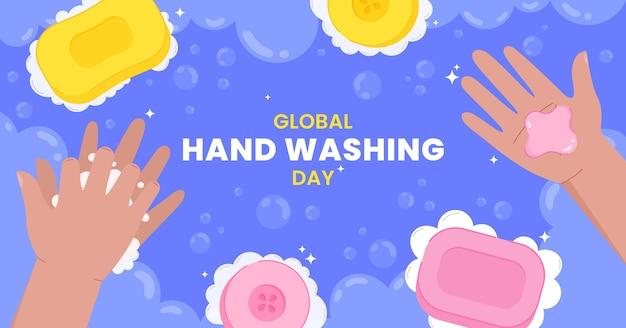 Handgezeichnete flache globale social-media-postschablone für den tag des händewaschens