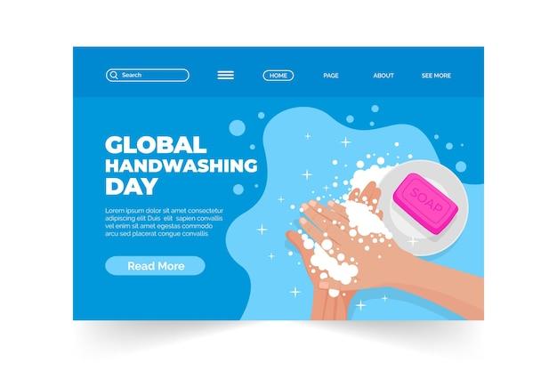 Handgezeichnete flache globale zielseitenvorlage für den tag des händewaschens