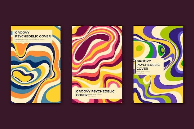Handgezeichnete flache groovige psychedelische cover-kollektion