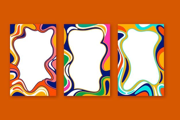 Handgezeichnete flache groovige psychedelische rahmensammlung