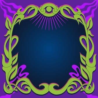Handgezeichnete flache groovige psychedelische rahmenschablone