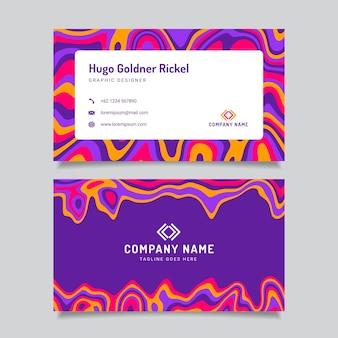 Handgezeichnete flache groovige psychedelische visitenkarten
