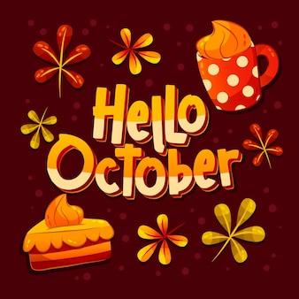 Handgezeichnete flache hallo oktober schriftzug