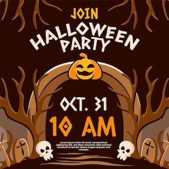 Handgezeichnete flache halloween-einladung ig-post