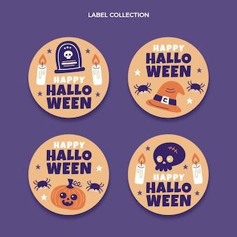 Handgezeichnete flache halloween-etikettensammlung