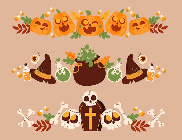 Handgezeichnete flache halloween grenzt sammlung