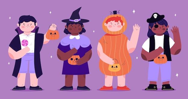 Handgezeichnete flache halloween-kinderkollektion in kostümen