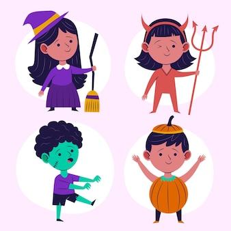 Handgezeichnete flache halloween kinderkollektionen