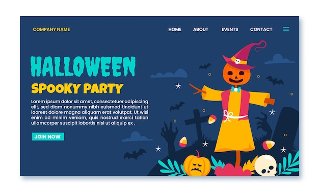 Handgezeichnete flache halloween-landing-page-vorlage