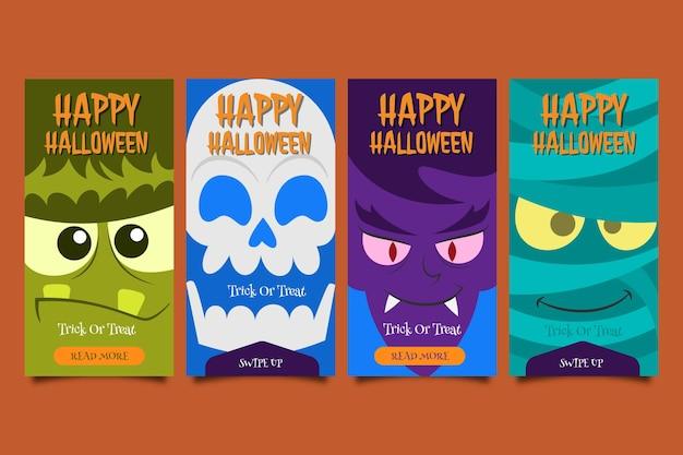 Handgezeichnete flache halloween monster charakter instagram geschichten cartoon banner