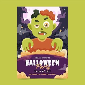 Handgezeichnete flache halloween-party-vertikal-flyer-vorlage