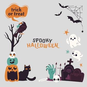 Handgezeichnete flache halloween-rahmenschablone