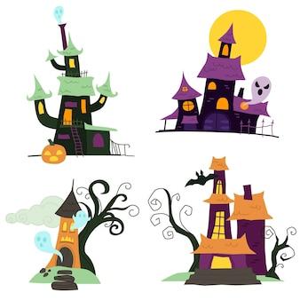 Handgezeichnete flache halloween spukhäuser sammlung