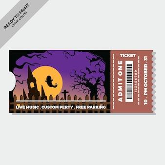 Handgezeichnete flache halloween-tickets