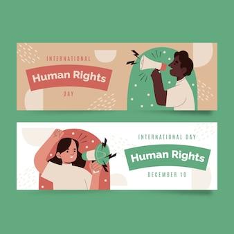 Handgezeichnete flache horizontale banner des internationalen menschenrechtstages gesetzt