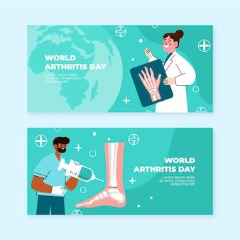 Handgezeichnete flache horizontale banner des weltarthritis-tages